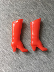 "MEGO 12.5"" Wonder Woman 1977 boots red high heel shiny finish"