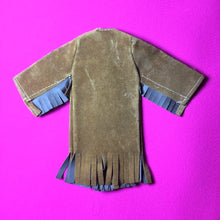 "Load image into Gallery viewer, Palitoy Action Girl Mini Ha Ha brown tan faux suede coat with tassels for 12"" doll"
