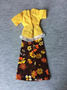 "Palitoy Action Girl yellow and brown floral maxi dress fit 12"" fashion doll"