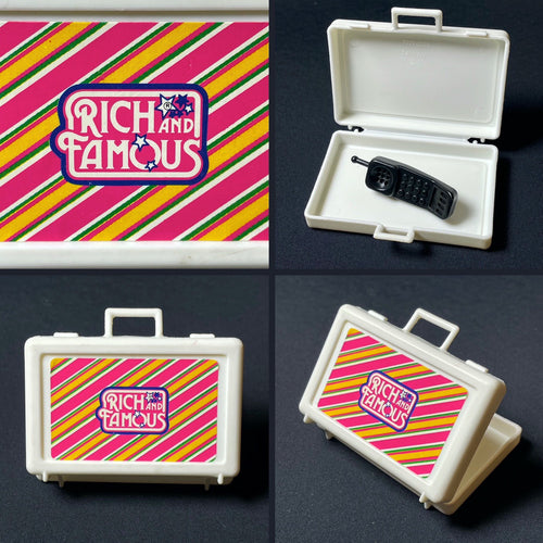 Yuppie Rich and Famous briefcase + 1980s mobile phone fit 12