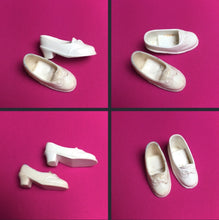 Load image into Gallery viewer, Pedigree Sindy white Trendy shoes bow mid heel squishy plastic