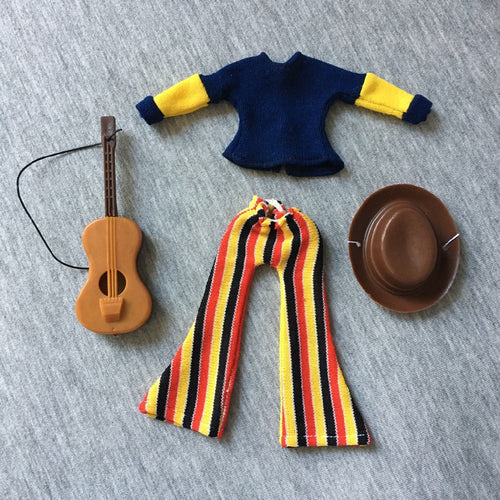 MEGO Dinah Mite Folk Singer 1407 blue top guitar stripe trouser set fit 8