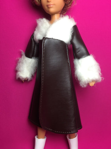 Brown vinyl MEGO coat with fur bodice cuffs fit 10