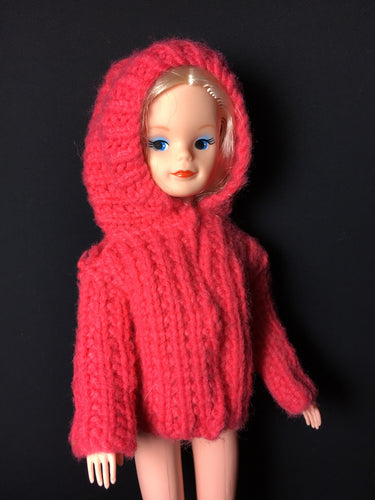 Pink knit jacket with hood vintage fits Sindy 12