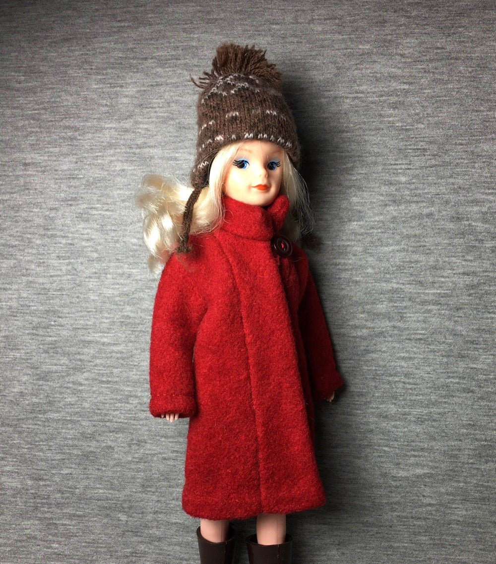 Handmade red wool coat with button and hat brown bobble ear flaps fit Sindy fashion doll