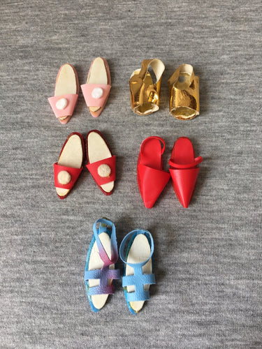 Lot Faerie Glen shoes 5 pairs vintage fit doll feet 2.5cm pink red gold blue
