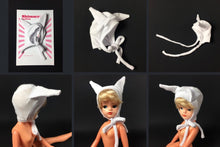 Load image into Gallery viewer, ShimmyShim animal hat designed to fit 1980s Sindy fashion doll head 14cm around.