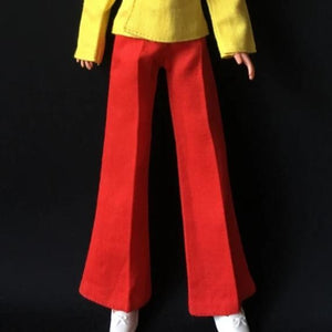 "Pedigree Sindy ""Apple"" 1974 red flared trousers with front crease S607 scale 1:6"