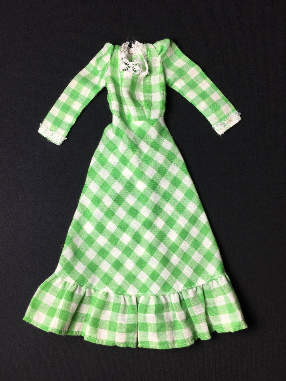 Sindy Barn Dance dress 1978 Pedigree 442713 green gingham check