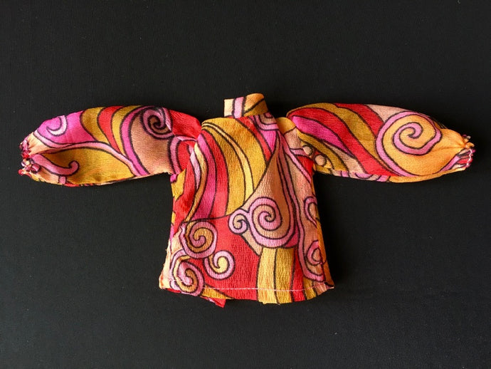 Sindy Blouse 1971 Pedigree 12S106 chiffon pink paisley swirl top