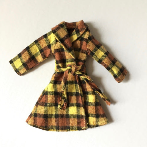 Sindy Checky Coat 1975 Pedigree 44228 yellow brown flannel tie waist