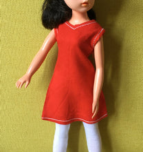 Load image into Gallery viewer, Sindy Funtime red dress 1978 Pedigree 44682 white stitching