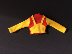 Sindy Quick Changes top 1975 Pedigree 44253 yellow red with braces