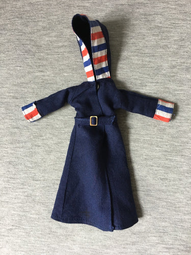 Vintage Victoria Jane doll coat 67006 navy blue with red white stripes