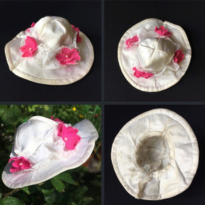 Sindy Wedding Bells hat 1976 white satin with pink fabric flowers 44288