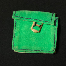 Load image into Gallery viewer, Sindy College Girl bag 1972 green faux suede with buckle Pedigree 12S37