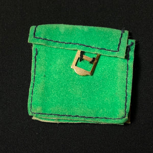 Sindy College Girl bag 1972 green faux suede with buckle Pedigree 12S37