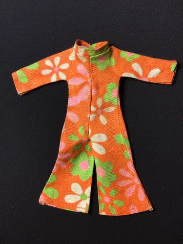 1970s Triki Miki orange green floral jumpsuit play suit fit 6