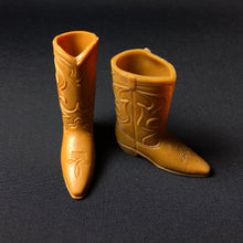 Load image into Gallery viewer, Vintage Ken cowboy boots tan light brown shoes 1970s 4cm long