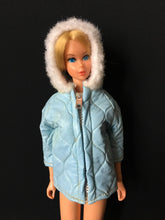 Load image into Gallery viewer, Pale blue anorak hooded jacket fur trim rain coat fits Skipper or Barbie doll