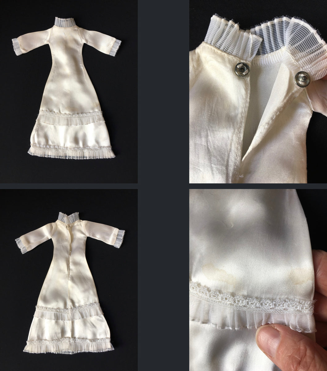 "Sindy Wedding Bells dress 1976 white satin clothes 44288 fit 12"" fashion doll"