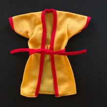 "Load image into Gallery viewer, Yellow 1970s kung fu style wrap top red trim fit 11"" 12"" doll"