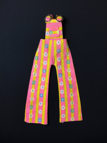 1970s pink yellow stripe dungarees with daisy flowers fit 12
