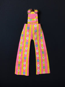"1970s pink yellow stripe dungarees with daisy flowers fit 12"" doll 1:6"