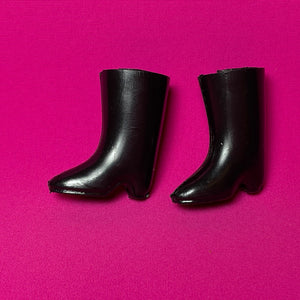 Trendy Sindy riding boots 1971 Pedigree 12S101 black hard plastic pointed mid heel