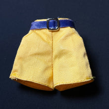 "Load image into Gallery viewer, Yellow hot pants shorts with blue belt and buckle fit 12"" doll"