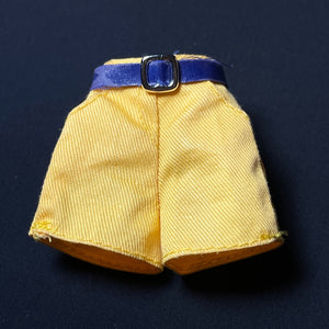 "Yellow hot pants shorts with blue belt and buckle fit 12"" doll"