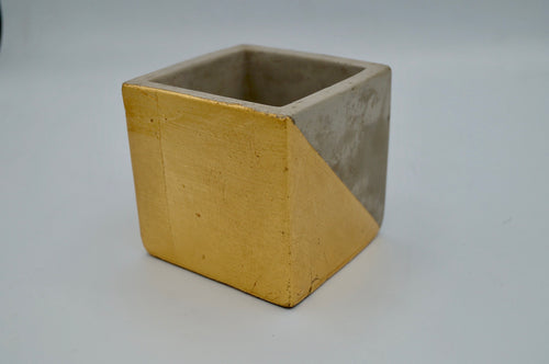 Gold Accent Cement Planter