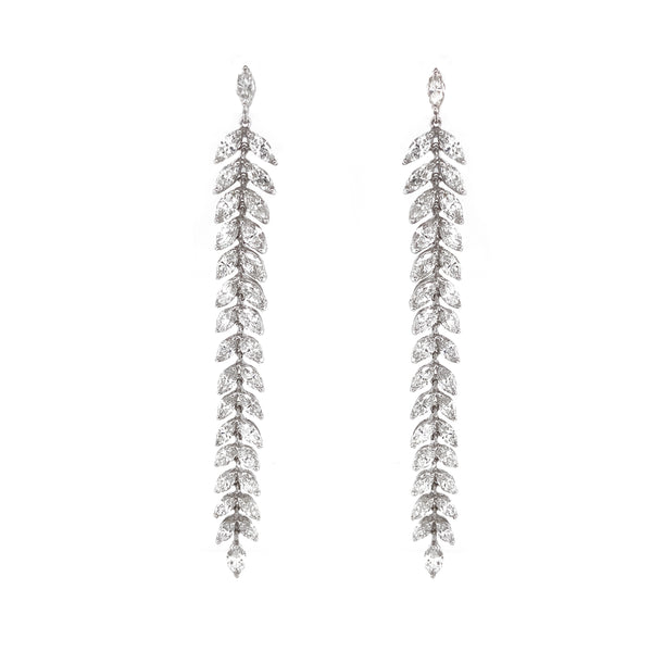 Marquise Cut Diamonds 12.57 Carat 18k Karat Gold Dangling Drop Earrings