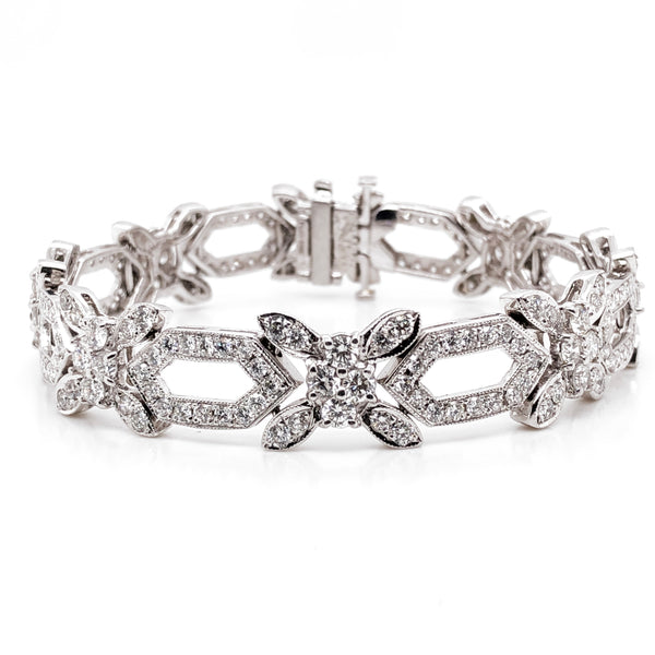 Retro round natural diamonds 8.31 carat slim platinum bracelet