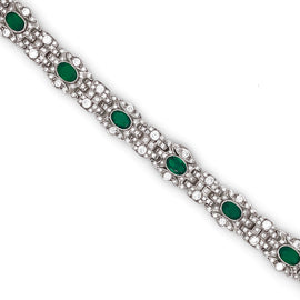 Art deco round diamonds and Zambian emeralds 5.68 carat platinum bracelet