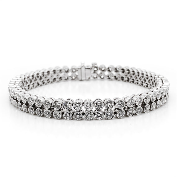 Round natural diamonds 8.59 carat dual row tennis platinum bracelet