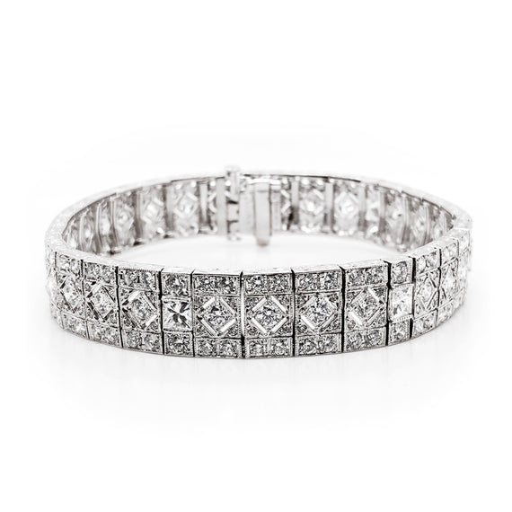 Retro round natural diamonds 10.63 carat platinum bracelet