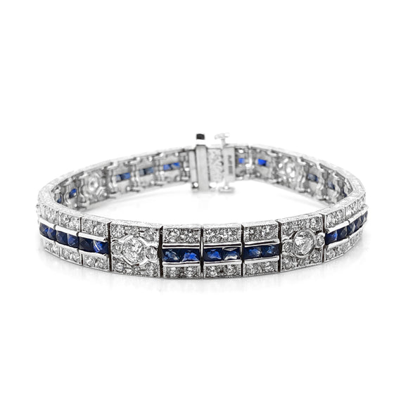 Ceylon french cut sapphires 6.14 carat diamonds platinum bracelet