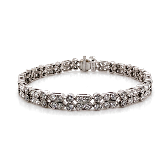 Slim tennis dual row round diamonds 6.73 carat platinum bracelet