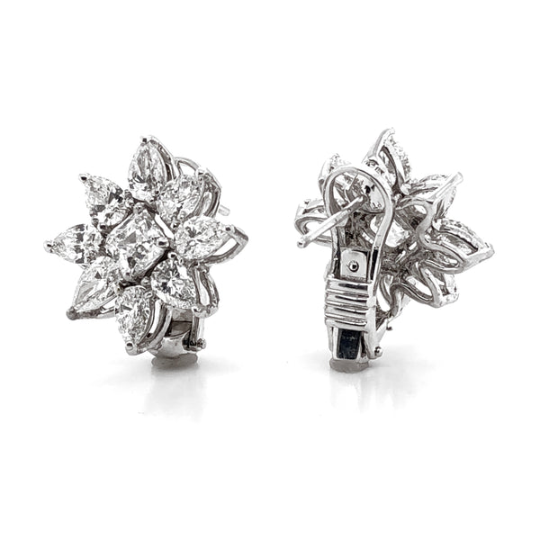 GIA Certified emerald cut diamonds 1.87 carat flower platinum earrings