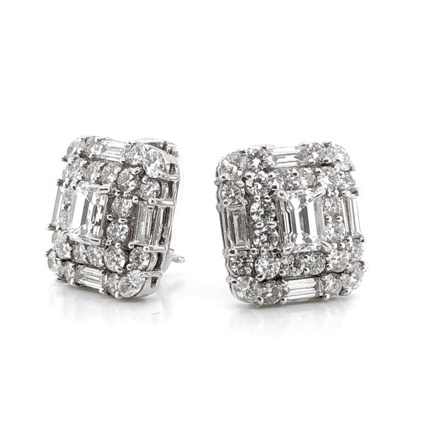GIA Certified emerald cut diamonds 2.02 carat platinum earrings