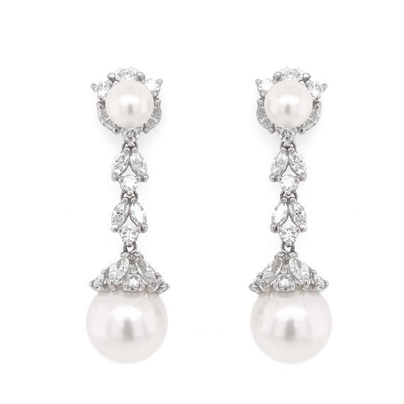 Pearl round marquise diamonds 5.09 carat dangling platinum earrings
