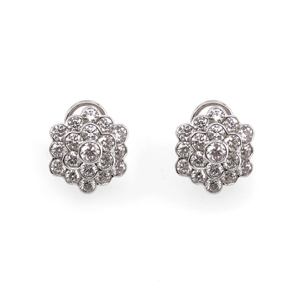 Snowflake round diamonds 6.23 carat platinum earrings