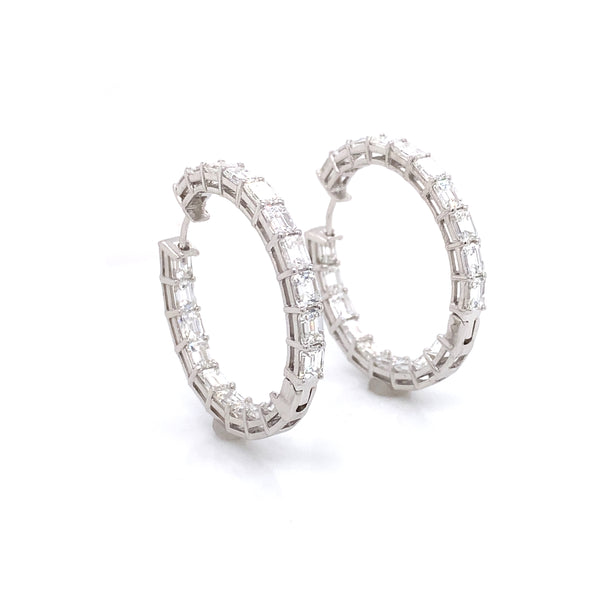 Emerald Cut 12.59 Carat Diamonds 18k White Gold Hoop Earrings