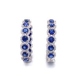 Sapphire Round Cut 13.58 Carat Diamond 18k Gold Hoop Earrings