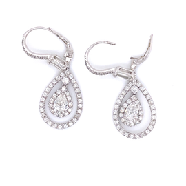 Dangling Modern Diamond Pear Cut 1.80 Carat Diamond Platinum Earrings
