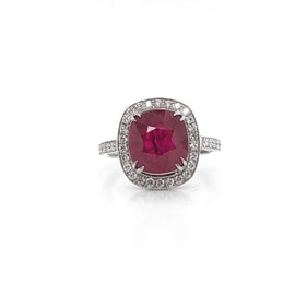 GIA Certified cushion burmese ruby 5.06 carat diamond cocktail platinum ring