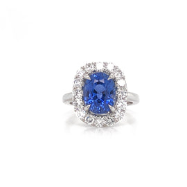 Cushion blue ceylon oval sapphire 4.69 ct round diamonds 1.28 ct platinum cocktail ring