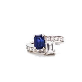 GIA Certified Pair of Emerald Cut Ceylon Sapphire and Diamond Platinum Ring