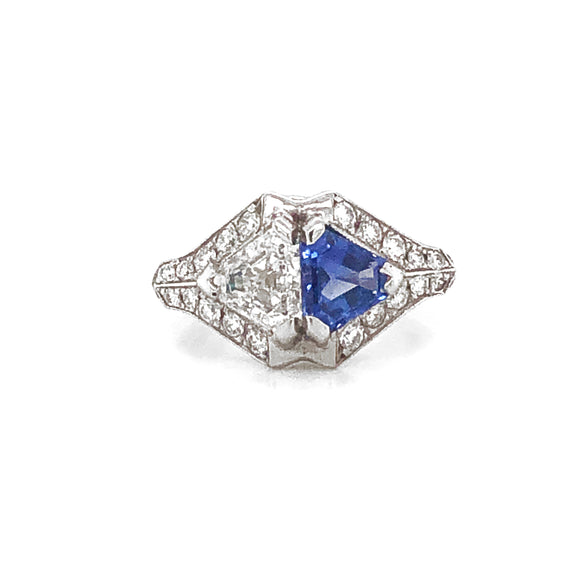 Ceylon Sapphire 1.22 Carat and Diamond 0.97 Carat Twin Combination Platinum Ring